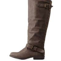 Taupe Bamboo Studded Back-Zipper Knee-High Riding Boots