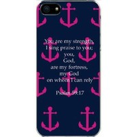 Navy and Pink Faith Anchor with Bible Verse Psalm 59:17 iPhone 5 / 5s Hard Case Cover
