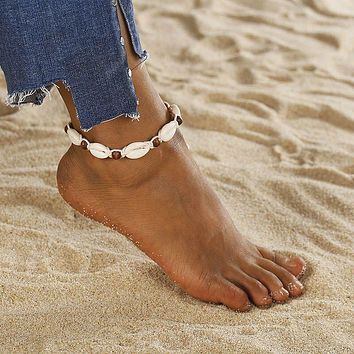Women Fashion Cuban Link Anklets Jewelry Alloy Shell Beach Gold Anklet Best Friend Gifts