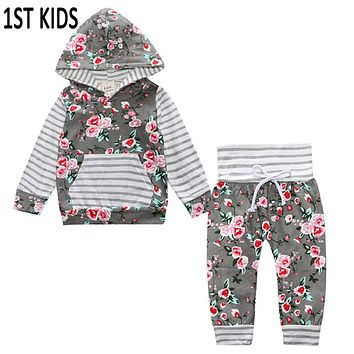 Baby Clothing Set Baby Girls Clothes Hooded Tops Pants Baby Gilrs Floral Clothes Winter Long Sleeve Outfits 2Pcs SetDB0231