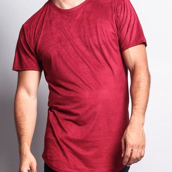 Perforated Faux Suede Long Length Curved Hem T-Shirt