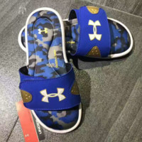 Under armour  Fashion Casual Comfortable Sandals Shoes Women And Men Stripe Slippers G-YF-MLBKS