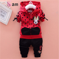 baby girls clothing sets cartoon minnie mouse 2016 winter children's wear cotton casual tracksuits kids clothes sports suit hot