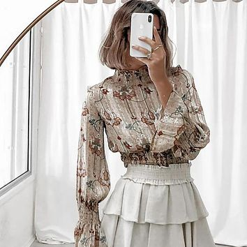 2020 summer new women's lantern sleeve floral chiffon long-sleeved slim high-neck casual pleated T-shirt grey only top
