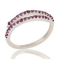 925 Sterling Silver Adjustable Stack Band Wedding Ring With Amethyst Gemstone