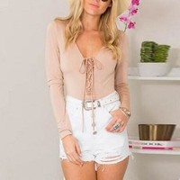 Lace Up V-Neck Long-Sleeved Shirt Blouse Tops