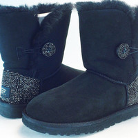 Custom Bailey Buttom UGG Boots made with Swarovski Crystals Free: Shipping, Repair Kit, Cleaning Kit, and 48 hr Turnaround
