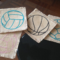 Cross stitch coaster set of three Handmade fabric coaster Tea dyed drink coasters Basketball Volleyball and Soccer balls