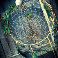 Large 19 Inch Peacock Dream Catcher