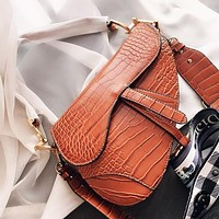 DIOR Fashion Women Shopping Bag Leather Saddle Bag Crossbody Satchel Shoulder Bag Handbag Tote Brown