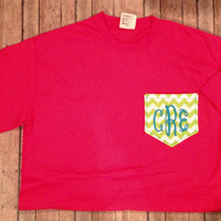Comfort Colors Monogrammed Chevron Pocket T