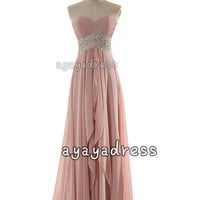 Long prom dress,Sweetheart Neckline Floor Length Chiffon Prom Dress,party Dresses ,cheap prom dress,long bridesmaid dress,formal drress2015,