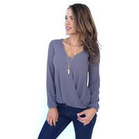 Always On The Run Blouse In Grey