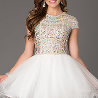 Short Tulle Fit and Flare Prom Dress