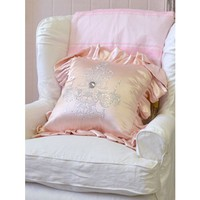 Shabby French Chic Pink Satin Ruffle Pillow with Silver Chandelier - PILLOWS - HOME DECOR