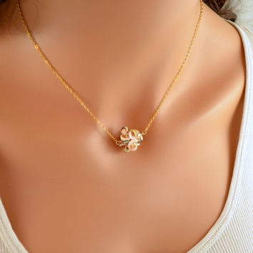 NEW Pink Seashell Necklace, Gold Filled, Real Sea Shell Cluster, Pale Coral, Summer Jewelry, Bridesmaid, Beach Wedding, Free Shipping