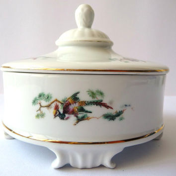 Porcelain Vintage Box - Peacock Images - Table Serving or Decor