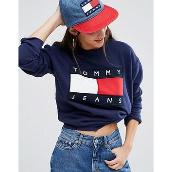 Tommy Jeans : Fashion Print Round Neck Top Sweater Pullover Sweatshirt