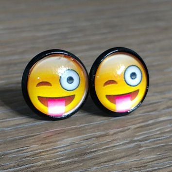 Emoji earrings-  Winking face with stuck out tongue- in black earrings