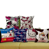 Cushion  Cover Home Office Sofa Decor Throw 45*45cm Hello Kitty Household Pillowcase Linen Fabric Not Including Filling B0