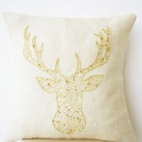 Christmas Pillow Cover with Deer Motif Embroidered in Gold Sequin on Ivory Burlap - Animal Pillowcover with Stag Embroidered in Gold Sequin and Beads - Burlap Pillowcases - Gold Moose Pillow Cover - Gold Pillowcases - Christmas Decor Pillowcase (12 x 12)