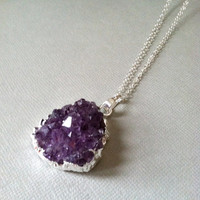 Raw Amethyst Druzy Necklace, sterling silver, modern, boho, simple, jewelry