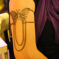 Lucky Butterfly Antique Bronze Armlet  by NightingaleWorkshop