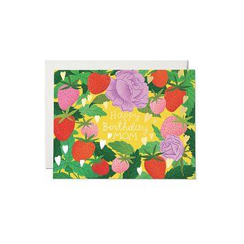 Strawberry Mom Foil Birthday Card