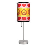 Groovy Peace Love Hearts Pink Orange and Yellow Table Lamp