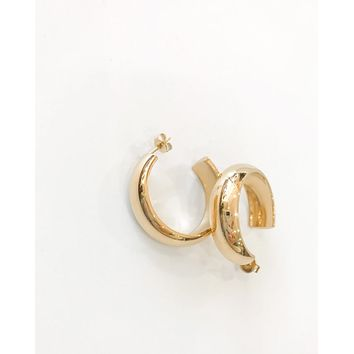 18K Thick Open Hoop Earring