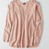 AEO Lace-Up Cold Shoulder Sweater, Pink