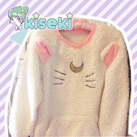 Sailor Moon - Artemis / Luna Fluffy Plush Sweater - harajuku, Fairy Kei, Ulzzang, Kawaii - FREE SHIPPING from Kiseki