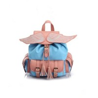 NEEWER Angel's Wings Faux Leather Backpack Schoolbag (Pink and Blue):Amazon:Sports & Outdoors