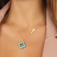 """Sideways cross necklace, turquoise clover necklace, turquoise clover, gold cross necklace, assymetrical necklace, gold filled, """"Admete"""""""