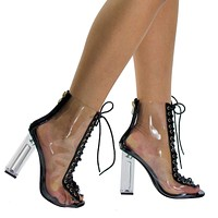 Posh1 Clear Translucent Transparent Lace Up Peep Toe Ankle bootie w Perspex Block Heel