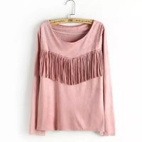 Long-Sleeve Fringed Suede Sweater