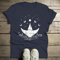 Men's Whale Hipster T-Shirt Sail Away Sailboat Shirt Wanderlust Graphic Tee Moon
