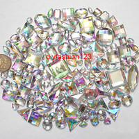 100 pcs lot --- Sew-On Gems / Beads --- AB Clear Mixed Shapes Flat Back Gems -- ( Mixed size 6mm - 40mm has thread holes )