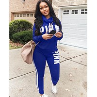 Victoria Pink Fashion New Letter Print Sports Leisure Two Piece Suit Long Sleeve Top And Pants Blue