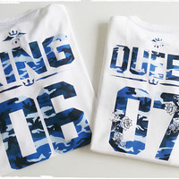 King queen shirts Custom numbers, Blue camouflage shirts, camo print couple tees
