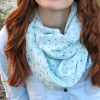 Woman Scarf Mint Flowers, Infinity, Circle Scarf, Loop Scarf, Women's Fashion Accessories, Chiffon scarves, Summer Scarves