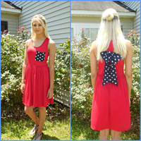 USA Pride Skater Dress with Star Print Back Bow