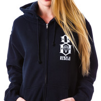 Rebel8 Logo Zip Mens Hoodie Black
