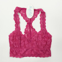 Lace Bralette- Bright Pink
