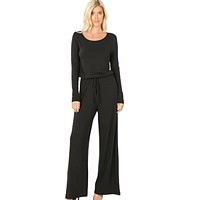 Black Long Sleeve Jumpsuit with Pockets