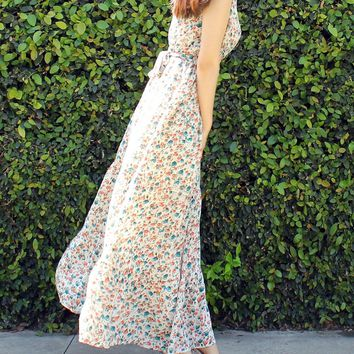 Lovely Flower Maxi Tie Warp Chest Dress