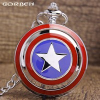 Hot Selling Captain America Pattern Silver Quartz Pocket Watch Men Women Analog Pocket Watch Wonderful Gift With Long Chain P264