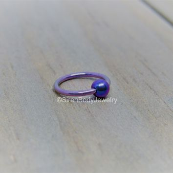 Titanium fixed bead ring 18g helix cartilage nose piercing hoop easy bend hypoallergenic rings