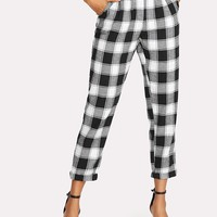 Zip Up Tapered Plaid Pants