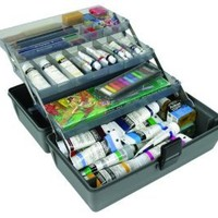 ArtBin Upscale Tool Box with Metal Links- Slate Grey, 3-Tray Art Supply Box, 8413